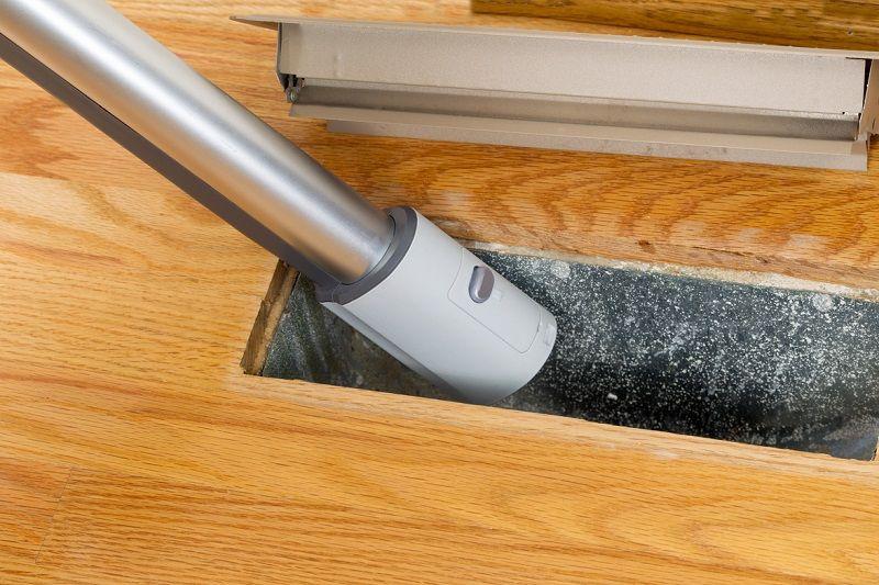 close up of vacuum in air duct