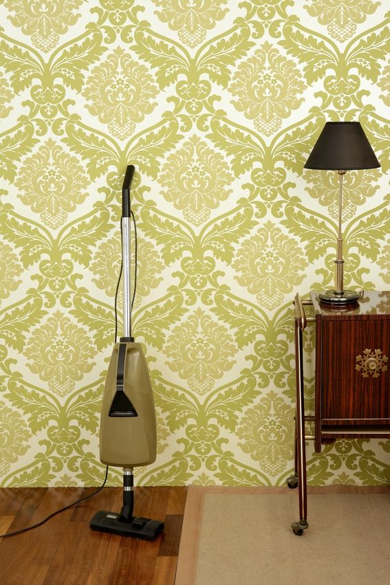 carpet cleaning with funky wallpaper in the background