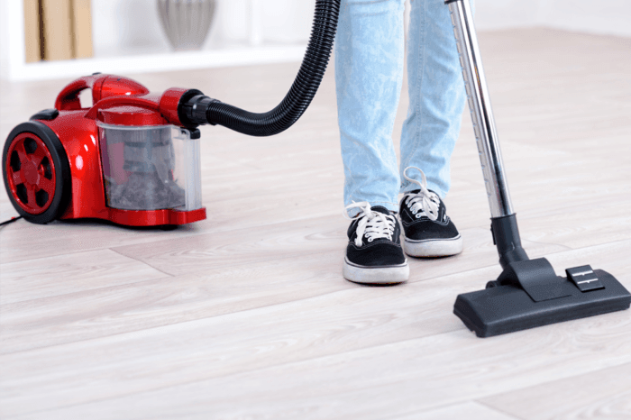 vacuum cleaner cleaning floor